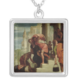 The Flight of the Israelites out of Egypt Square Pendant Necklace