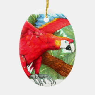 The Flight of the Macaw by Derrick Rathgeber Ceramic Ornament