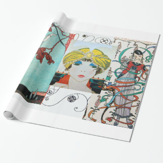 THE FLIGHTY BIRD ,ART DECO BEAUTY FASHION COSTUME WRAPPING PAPER