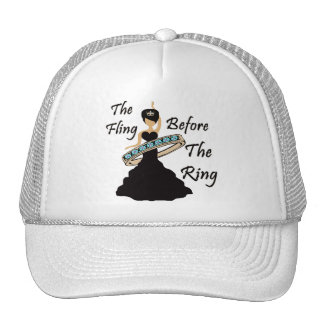 The Fling Before The Ring White Background Trucker Hat