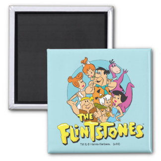 The Flintstones and Rubbles Family Graphic 2 Inch Square Magnet