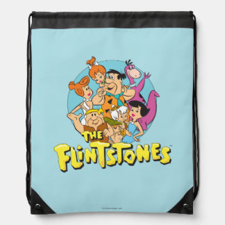 The Flintstones and Rubbles Family Graphic Drawstring Bag