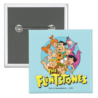 The Flintstones and Rubbles Family Graphic Pinback Button