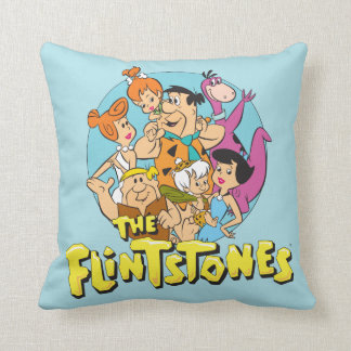 The Flintstones and Rubbles Family Graphic Throw Pillow