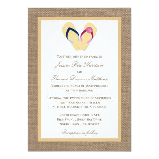 The Flip-Flop Sand Beach Burlap Wedding Collection 5x7 Paper Invitation Card