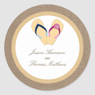 The Flip-Flop Sand Beach Burlap Wedding Collection Classic Round Sticker