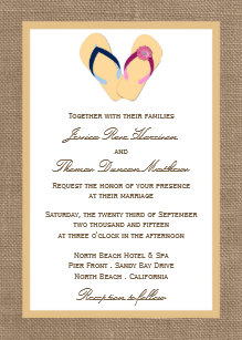 eb9cbe7375d1ba The Flip-Flop Sand Beach Burlap Wedding Collection Invitation