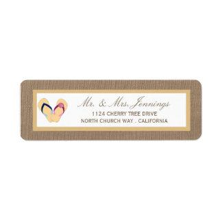 The Flip-Flop Sand Beach Burlap Wedding Collection Label