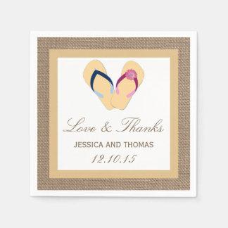 The Flip-Flop Sand Beach Burlap Wedding Collection Napkin