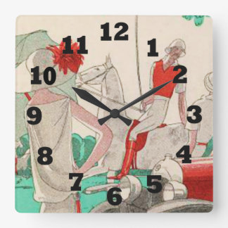 The Flirting Polo Player on Horseback Square Wall Clock