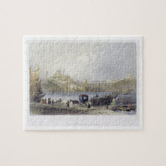 The Floating Bridge, Istanbul, engraved by J.C. Be Jigsaw Puzzle