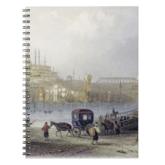 The Floating Bridge, Istanbul, engraved by J.C. Be Notebook