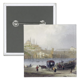 The Floating Bridge, Istanbul, engraved by J.C. Be Pinback Button