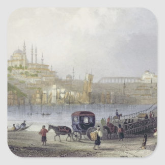 The Floating Bridge, Istanbul, engraved by J.C. Be Square Sticker