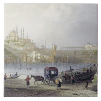 The Floating Bridge, Istanbul, engraved by J.C. Be Tile