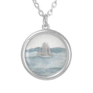 The Floating Ship Silver Plated Necklace
