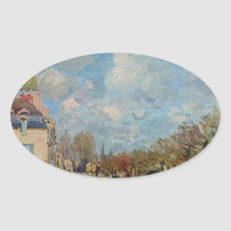 The Flood at Port Marly by Alfred Sisley Oval Sticker
