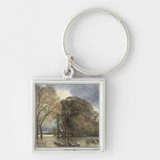 The Flood at Saint-Cloud, 1855 Silver-Colored Square Keychain