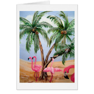 """The Florida Flamingos"" Vertical Notecard"