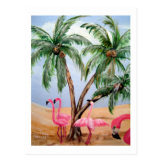 """The Florida Flamingos"" Vertical Wildlife Postcard"