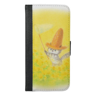The flower garden of the cat greens which wear the iPhone 6/6s plus wallet case
