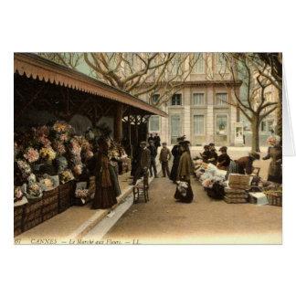 The Flower Market, Cannes France, 1915 Vintage Greeting Cards