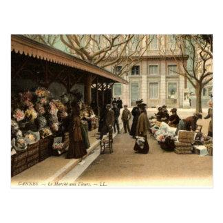 The Flower Market, Cannes France, 1915 Vintage Post Cards