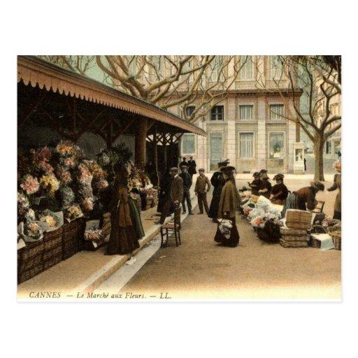 The Flower Market, Cannes France, 1915 Vintage Postcard