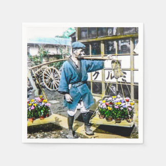 The Flower Merchant in Old Japan Vintage Napkin