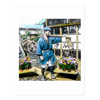 The Flower Merchant in Old Japan Vintage Postcard