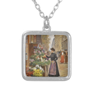 The Flower Seller Silver Plated Necklace