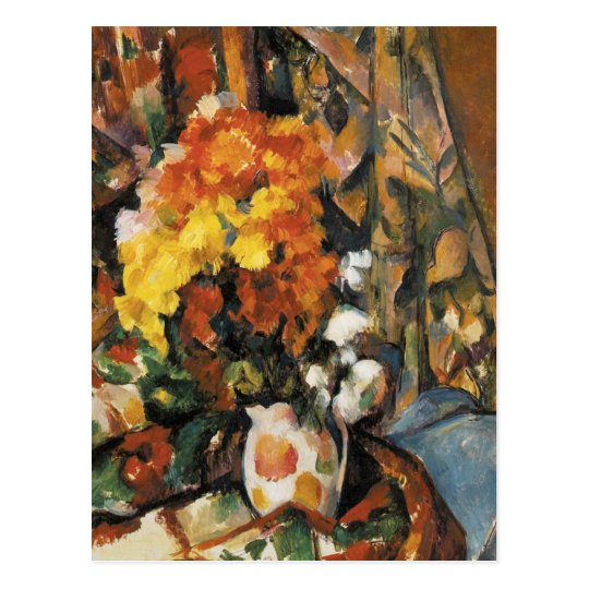 The Flowered Vase By Paul Cezanne Postcard Zazzle