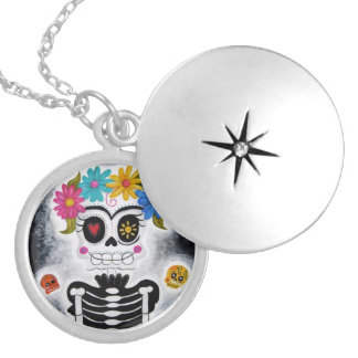 The Flowery Skull Round Locket Necklace