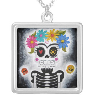 The Flowery Skull Square Pendant Necklace