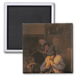 The Flute Player, 17th century 2 Inch Square Magnet