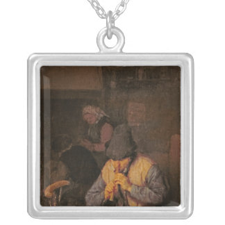 The Flute Player, 17th century Square Pendant Necklace