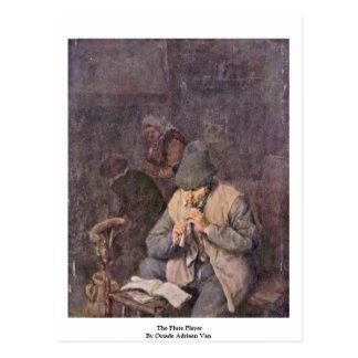 The Flute Player By Ostade Adriaen Van Postcard