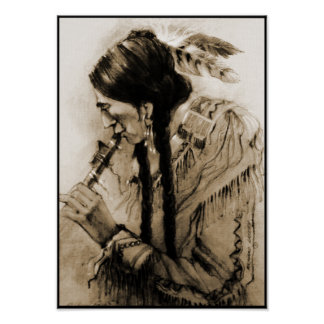 The Flute Player Sepia Canvas Print