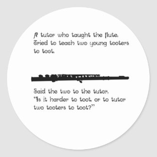 The Flute Tutor Classic Round Sticker