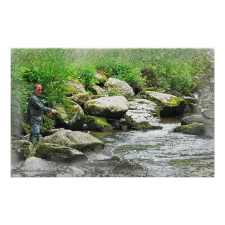 The Fly Fisherman as a painting Poster