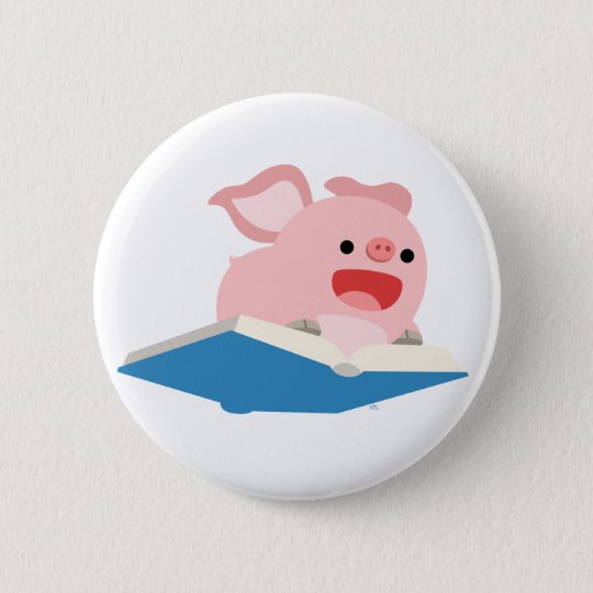 The Flying Book and Cartoon Pig Button Badge