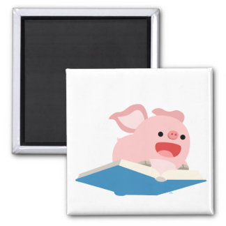 The Flying Book and Cartoon Pig Magnet
