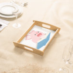 The Flying Book and Cartoon Pig Serving Tray