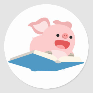 The Flying Book and Cartoon Pig Sticker