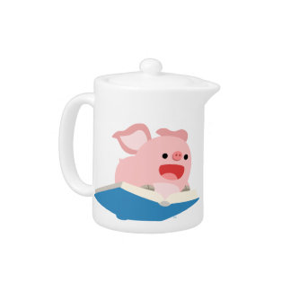 The Flying Book and Cartoon Pig Teapot