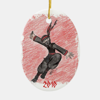 The Flying Ninja Double-Sided Oval Ceramic Christmas Ornament