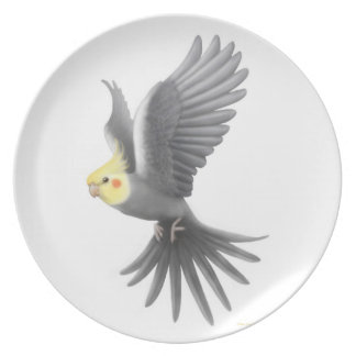 The Flying Pet Cockatiel Parrot Plate