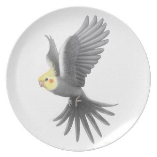 The Flying Pet Cockatiel Parrot Plate