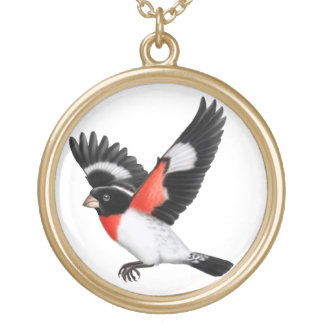 The Flying Rose Breasted Grosbeak Necklace