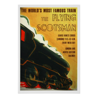 The Flying Scotsman railway poster art